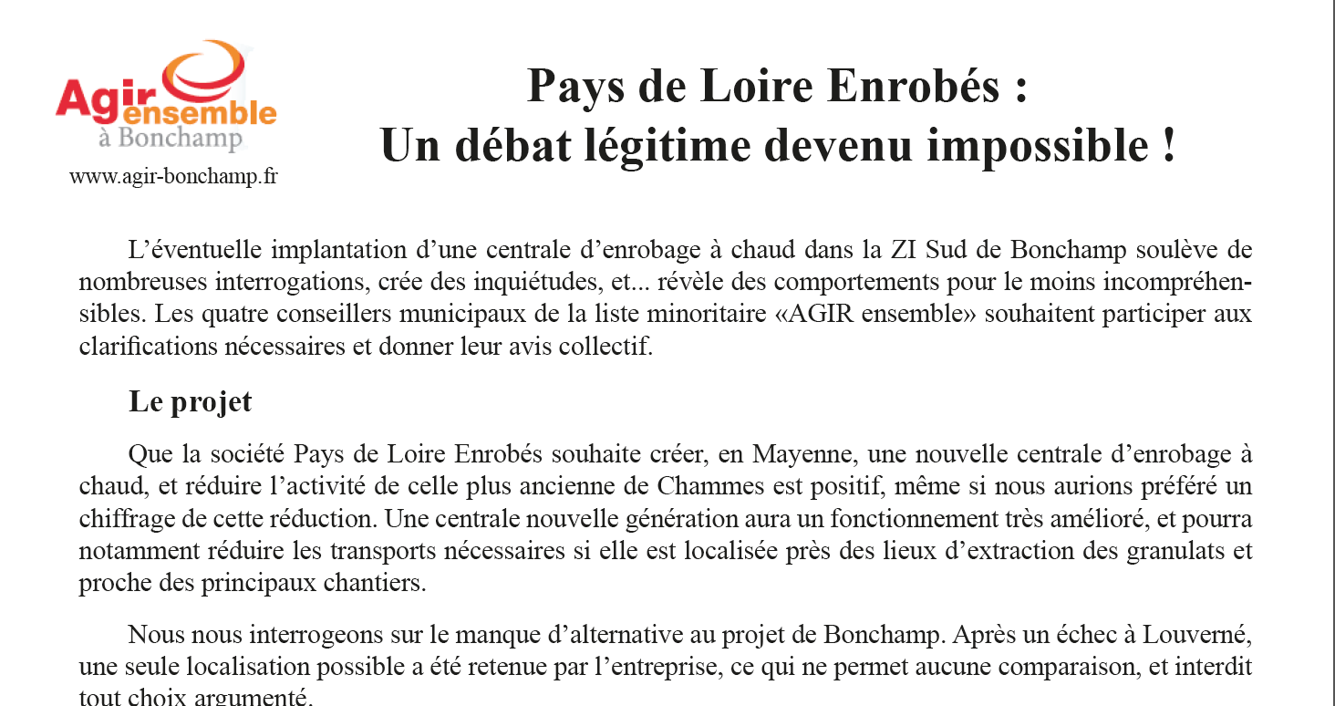 Communiqué de presse : Pays de Loire Enrobés